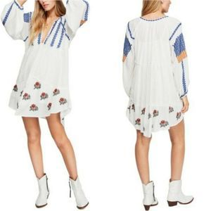 Free People Wild Horses Embroidered Dress Ivory L